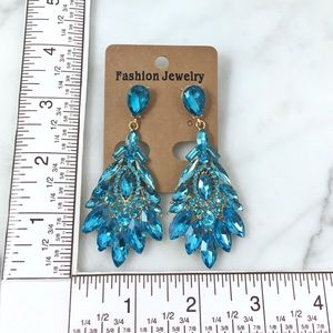Cherryl's Jewelry - Turquoise Crystal Occasion Chandelier Earrings